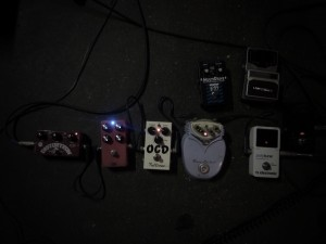 stereotypical recording session picture with all our (barely used) pedals connected